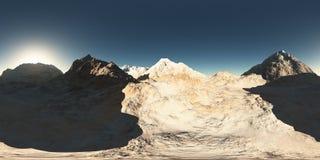 Panorama av berg gjort med den en 360 grad lensekameran Arkivbilder