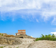 Panorama av berg Uplistsikhe i Georgia Arkivbild