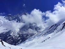 Panorama av bergen nära Annapurna område, Himalaya Royaltyfri Foto