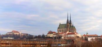 Panorama av Brno den gamla staden i Tjeckien Fotografering för Bildbyråer