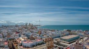 Panorama av Cadiz, Spanien Arkivfoto