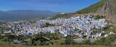 Panorama av Chefchaouen, Marocko Fotografering för Bildbyråer