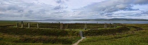 Panorama av cirkeln av Brodgar i Orkney Royaltyfria Foton