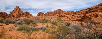 Panorama av dalen av branddelstatsparken, Nevada Royaltyfri Fotografi