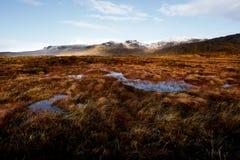 Panorama av de Bluestack bergen i Donegal Irland med en sjö framtill royaltyfri fotografi