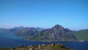 Panorama av de Lofoten öarna stock video