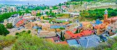 Panorama av den Abanotubani grannskapen Arkivfoton