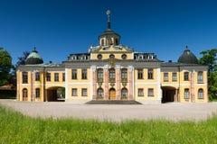 Panorama av den barocka Schloss belvederen, Weimar arkivbild