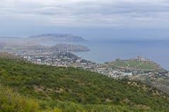 Panorama av den Black Sea kusten Krim arkivfoton