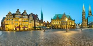 Panorama av den Bremen marknadsfyrkanten, Tyskland Fotografering för Bildbyråer