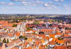 Panorama av den centrala delen av Bruges arkivbild