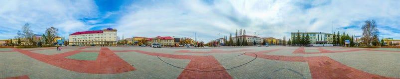 Panorama av den centrala fyrkanten av staden Royaltyfri Bild