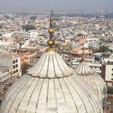 Panorama av den Delhi Jama Masjid Mosque minaret Fotografering för Bildbyråer