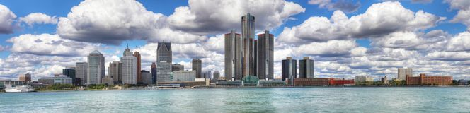Panorama av den Detroit horisonten Royaltyfri Foto