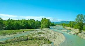 Panorama av den Fiume Tarofloden Arkivbild