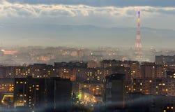 Panorama av den flyg- sikten för natt av den Ivano-Frankivsk staden, Ukraina Plats av den moderna nattstaden med ljusa ljus av hö Royaltyfria Bilder