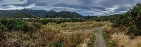 Panorama av den gå banan och det bergiga landskapet, södra ö, Nya Zeeland arkivfoto
