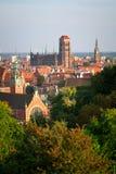 Panorama av den gammala townen i Gdansk Royaltyfri Foto