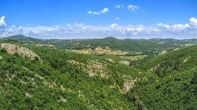 Panorama av den gröna steniga kanjonen Arkivbilder