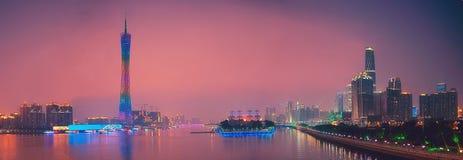 Panorama av den Guangzhou kantonen Kina arkivbild