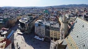 Panorama av den historiska mitten av Wien arkivfoto