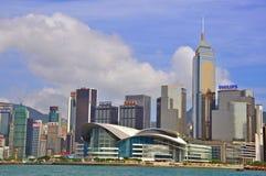 Panorama av den Hong Kong staden Arkivbilder