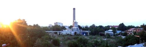 Panorama av den industriella zonen Arkivfoton