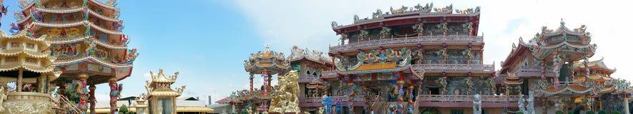 Panorama av den kinesiska templet Royaltyfria Foton