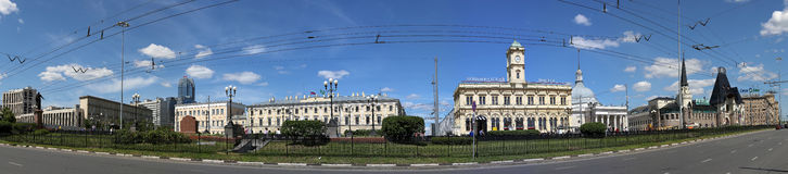 Panorama av den Komsomolskaya fyrkanten (fyrkanten för tre station eller enkelt tre stationer) moscow russia Arkivbild