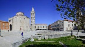 Panorama av den kroatiska staden Zadar Arkivbild