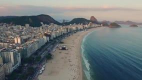 Panorama av den kust- zonen av Rio da Janeiro på solnedgången Shevelev arkivfilmer