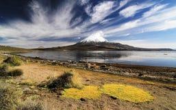 Panorama av den Lago Chungara och Parinacota vulkan Royaltyfri Foto
