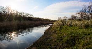 Panorama av den lilla floden Arkivfoto