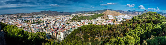 Panorama av den Malaga staden Royaltyfri Fotografi