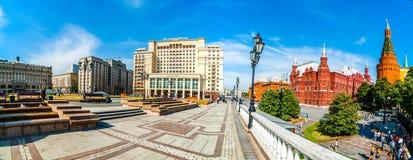 Panorama av den Manege fyrkanten av Moskva Arkivfoto