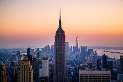 Panorama av den Manhattan horisonten Arkivfoto