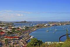 Panorama av den Marigot fjärden, St Maarten Arkivbild