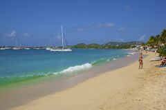 Panorama av den Rodney fjärden i Saint Lucia som är karibisk Arkivbild