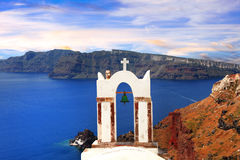 Panorama av den Santorini ön, Cyclades, Grekland Fotografering för Bildbyråer