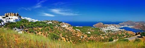 Panorama av den sceniska Patmos ön. Royaltyfri Bild