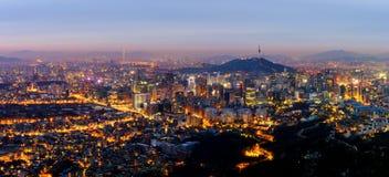 Panorama av den Seoul staden, Sydkorea Arkivfoton