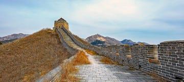 Panorama av den stora Kina väggen Arkivfoto