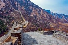 Panorama av den stora Kina väggen Arkivfoton