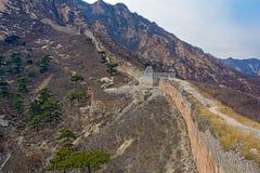 Panorama av den stora Kina väggen Arkivbild