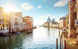 Panorama av den storslagna kanalen i Venedig, Italien Arkivfoton