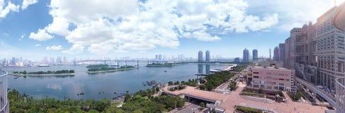 Panorama av den Tokyo fjärden i Japan Royaltyfri Bild