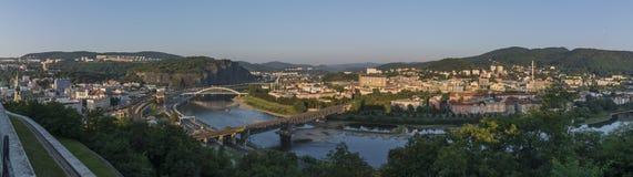 Panorama av den Usti nad Labem staden arkivfoto