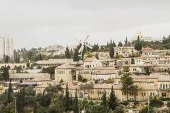 Panorama av den västra Jerusalem Yemin Moshe grannskapen Royaltyfria Bilder