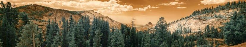 Panorama av den Yellowstone nationalparken i infrared Arkivbilder