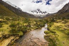 Panorama av dentäckte Anderna berg och floden Arkivbilder